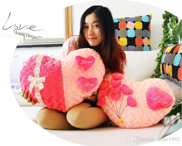 Love Gifts Heart-shaped velvet love roses pillow plush cushion home wedding married Valentine's gift free shipping