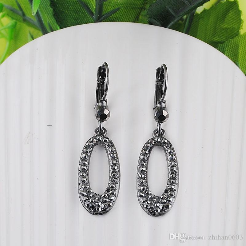 Ear Clip Earrings Nova Marca Lady 100% material verde brilhante preto 1 par / lote grande transporte da gota