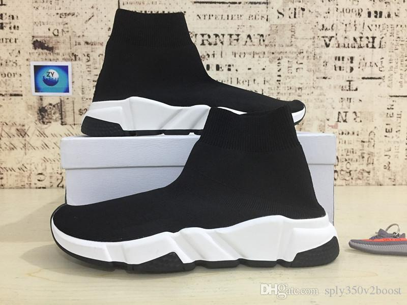 Купить Оптом Париж Дизайнер Speed trainer Stretch Knit Mid Black White  Fashion Top Sneakers Дышащие Носки  Оригинальные мужские кроссовки Nike Air  Trainer 1 ... 0bacc662864