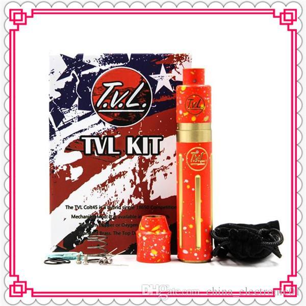 New TVL Colt 45 Mod Starter Kit Vaporizer T.V.L Mechanical RDA Atomizers Copper Brass Hybrid 18650 Battery Vapor Mods DHL