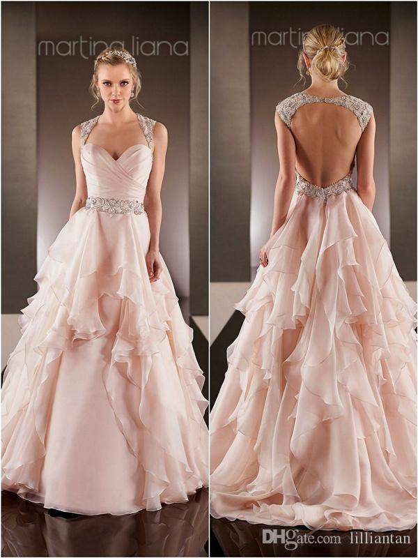 276570a35183 Discount Blush Pink Wedding Dresses Open Back Wedding Gown Beaded Sash Robe  De Mariee Sexy Backless Wedding Dress Layered Skirts Bridal Gowns Wedding  Dress ...