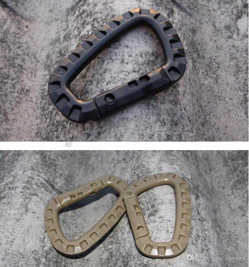 10 adet / grup D Şekli Dağcılık Taktik Toka Yapış Klip Plastik Çelik Tırmanma Carabiner Asılı Anahtarlık Kanca EDC Dişli