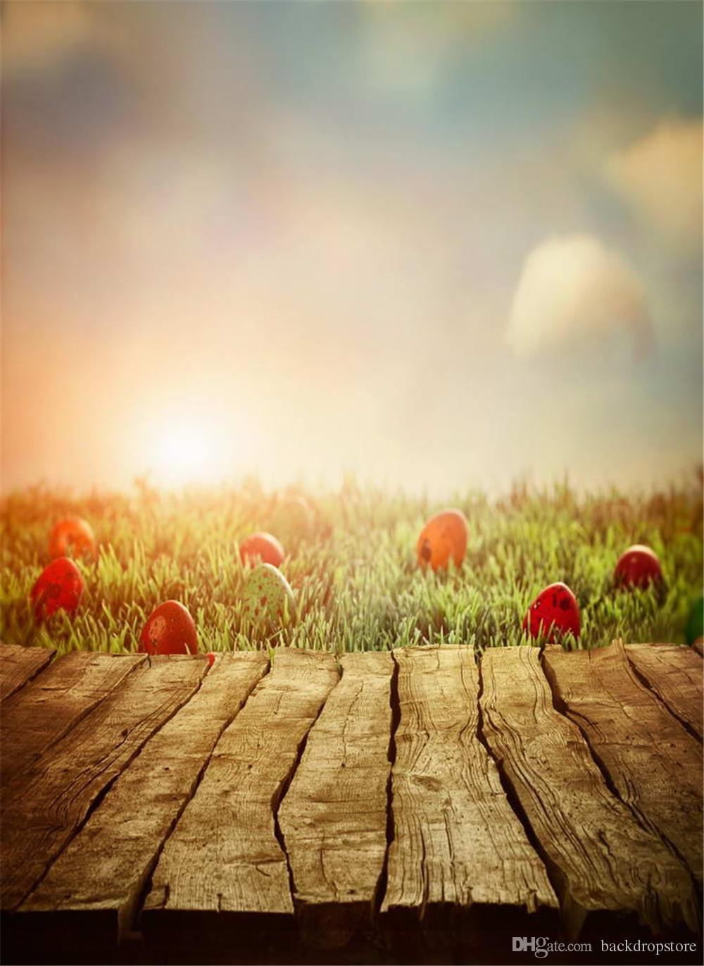 Easter Photo Backgrounds Vintage Wooden Panel Floor Fuzzy Light Blue Sky Cloud Red Eggs Green Grass Baby Newborn Photography Backdrop