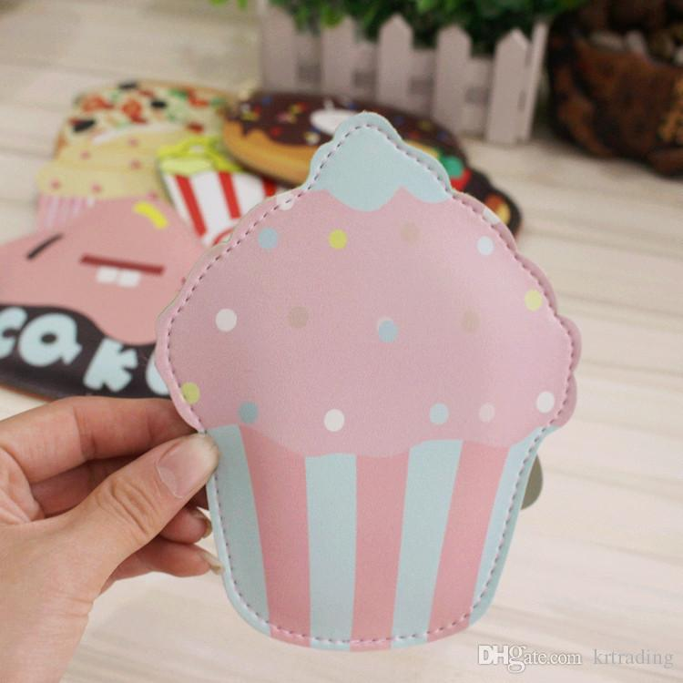 Multicolor Cute Food PU Coin Purse Ice cream Key case Card holders Cute Cartoon Doughnut Cake Pizza Popcorn pouch Kids coin purse pendants