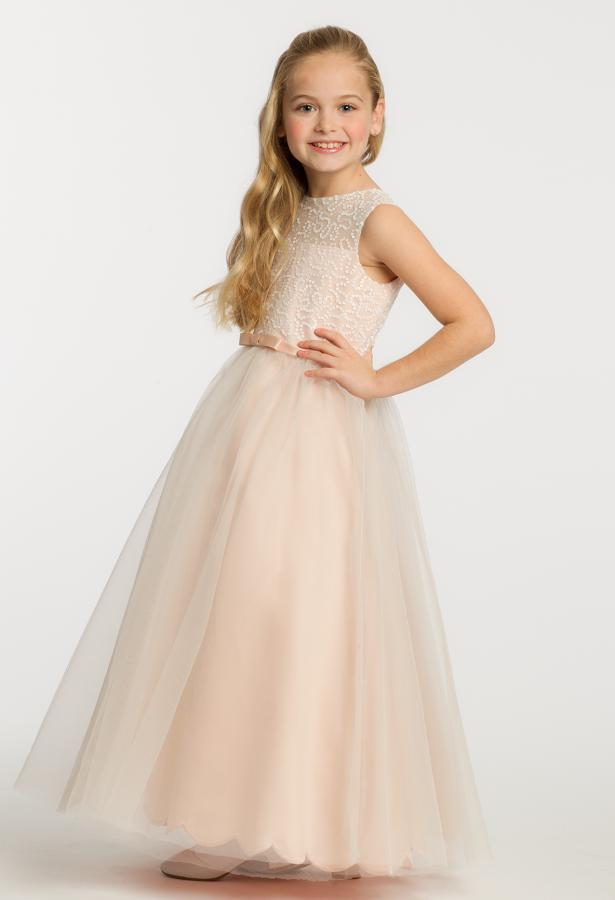 Nude Pink Cheap Flower Girl Dresses Wedding Gowns Jewel Neck ...