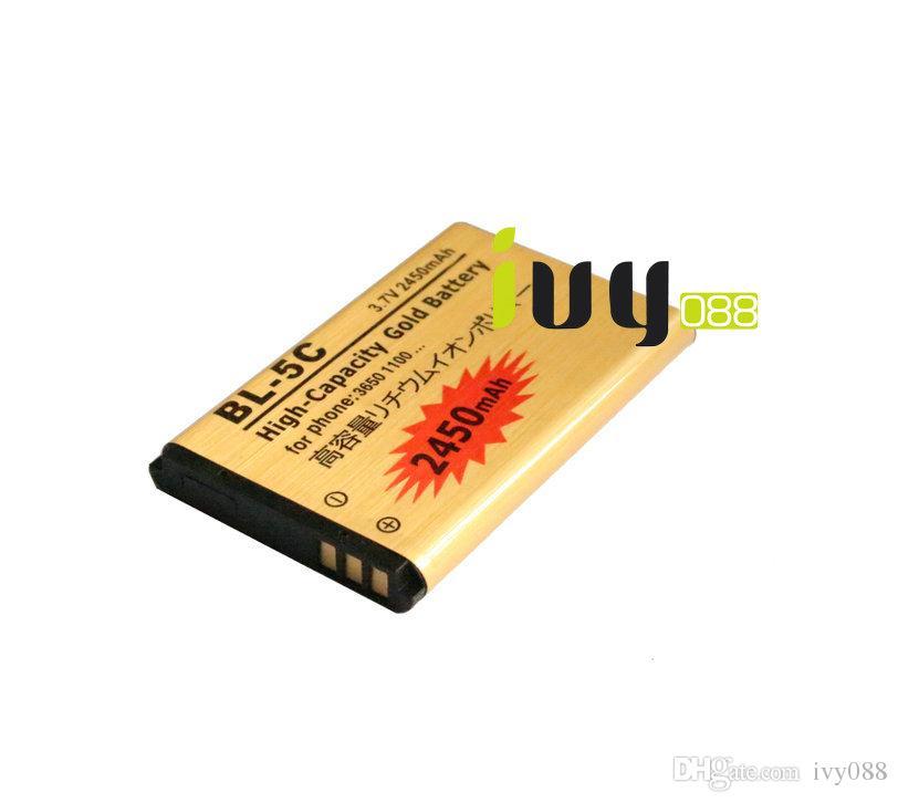 2450 mah BL-5C BL5C BL 5C Altın Yedek Pil + Evrensel USB Duvar Şarj Nokia 3650 1100 6230 6263 6555 1600 6630 6680 6550 6230i