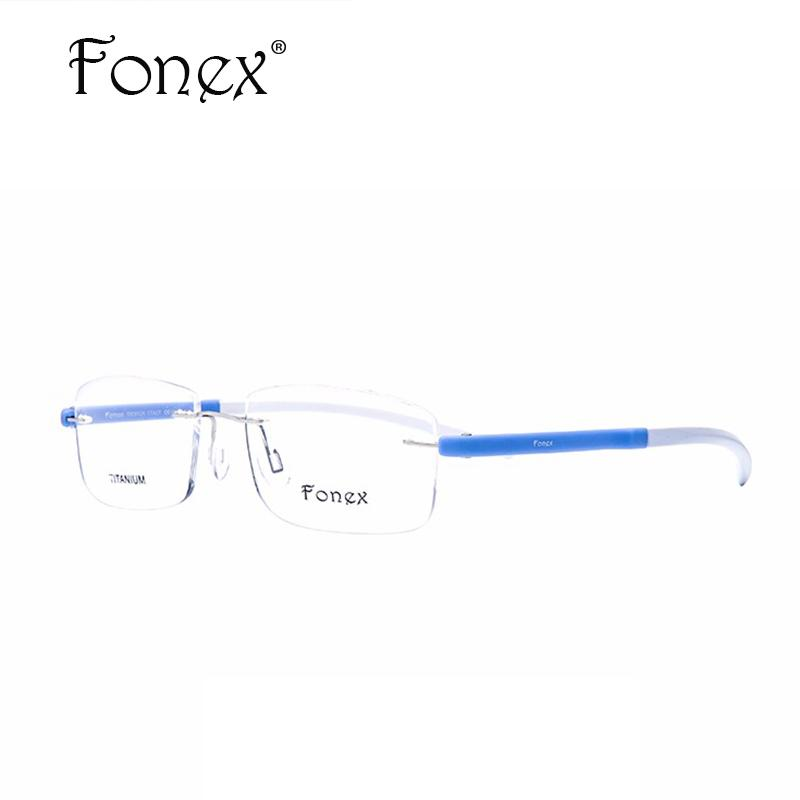 cd06c5d5175 Wholesale- Fonex 2017 New High Quality Square Myopia Rimless Reading ...