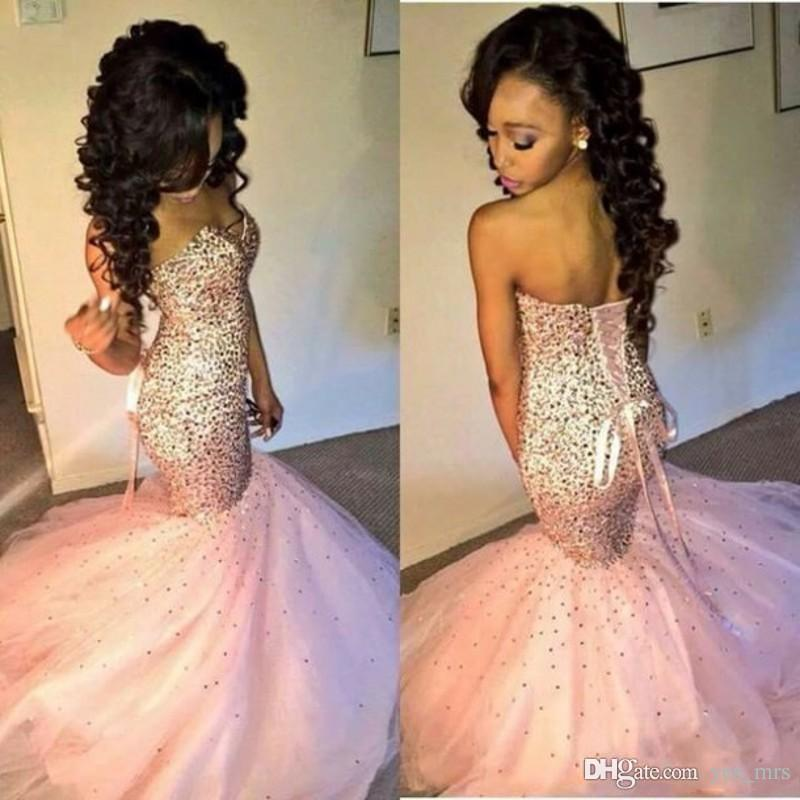 2020 Cheap African Sparkle Prom Dresses Sweetheart Pink Mermaid Floor Length Beaded Sequins Corset Back Long Party Dress Evening Gowns Wear