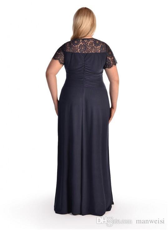 Günstige Chiffon Plus Size Abendkleider Kurzarm Spitze Applique V-Ausschnitt Abendkleider bodenlangen Kleid für besondere Anlässe