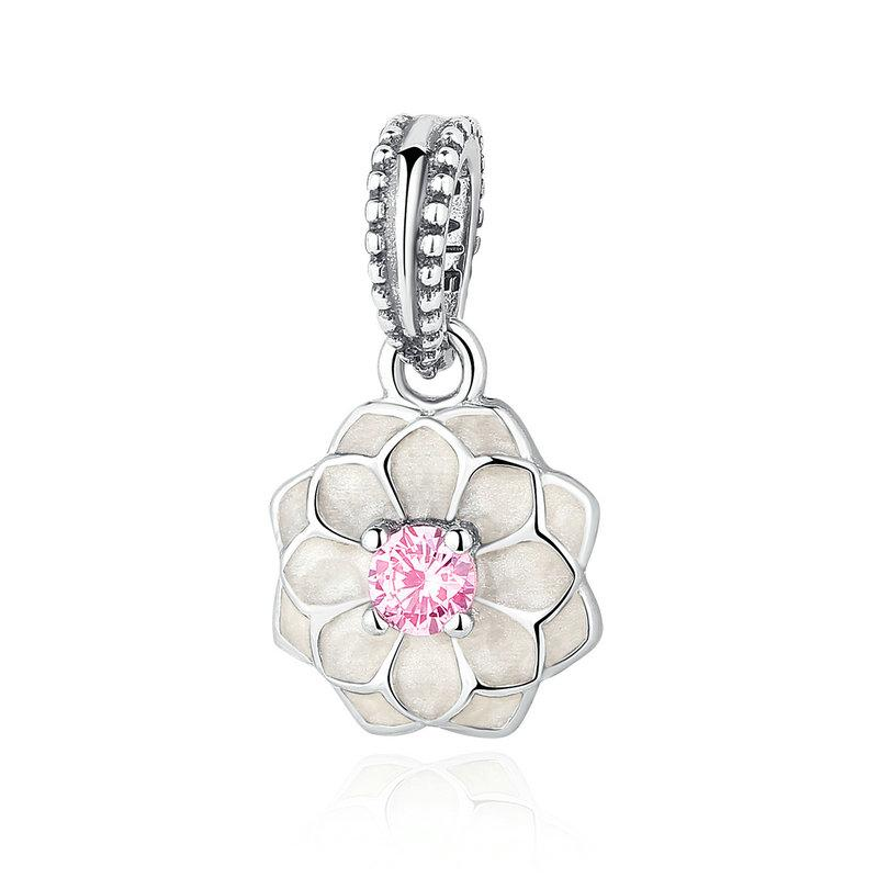 Blooming Dahlia Flower Clip Charms in 925 Sterling Silver with Cream Enamel & Blush Pink Crystals for Pandora Style Beaded Bracelets S292