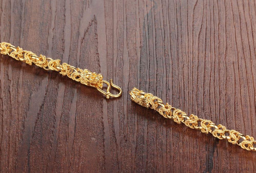 18 K Real Banhado A Ouro Mans Colares de Rock Estilo Dragão Cabeças Mens Amizade Moda Jóias Chunky Elo Da Cadeia KX445