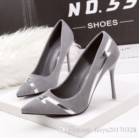 5158-2 Korean fashion tip shallow mouth high heels nightclub sexy thin women's shoes with fine suede shoes discount wide range of NB8hsJX4Ef
