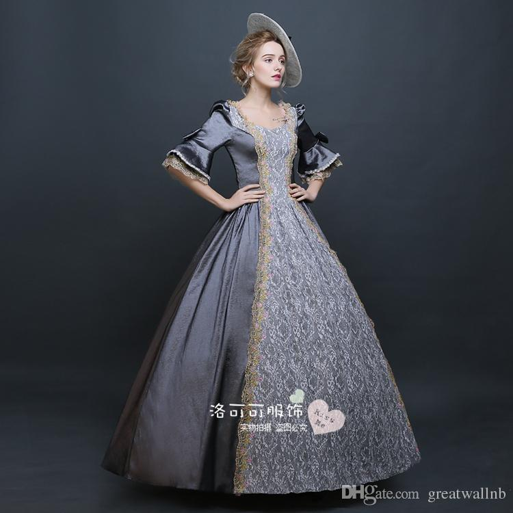 1d98b42d34e90 Silver Grey Lace Medieval Court Ball Gown Medieval Dress Renaissance Gown  Princess Victorian Marie Antoinette Halloween Costumes Group Halloween  Themes For ...