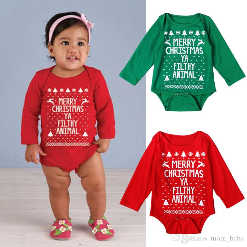 2018 2016 merry christmas baby boys and girls long rompers infant letters printed one piece jumpsuits kids children holidays clothes from mom_bebe - Merry Christmas Baby