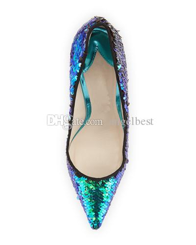 Famous Design Newly Glitter Wedding Shoes Shiny Sequins Gladiator High Heels Pointed Toe Formal Dress Shoes Woman Pumps