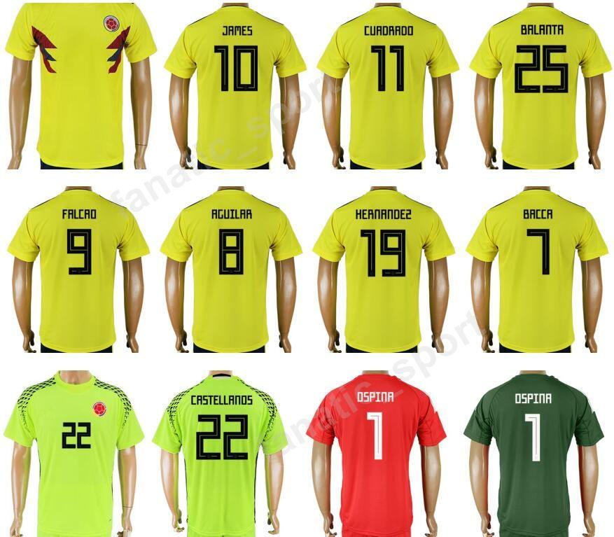 2018 Copa Mundial 10 James Rodriguez Jersey De Fútbol Fútbol Colombia Kits  De Camiseta 9 Radamel Falcao 7 Carlos Bacca 11 Juan Cuadrado 19 HERNANDEZ  Por ... d948f79f8b3fb