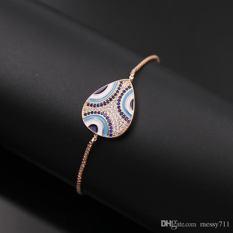 Wholesale and retail copper box chain adjust size oval model Enamel mix color full stone bracelet