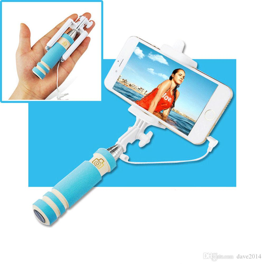 2018 New Hot Mini Wired Foldable Selfie Stick Android Gopro Digital ...