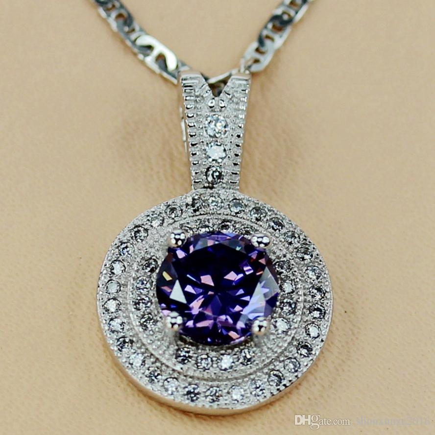 Copper Rhodium Plated Charm Pendants Amethyst Cubic Zirconia Noble Generous MN3207 Rave reviews First class products Recommend Promotion