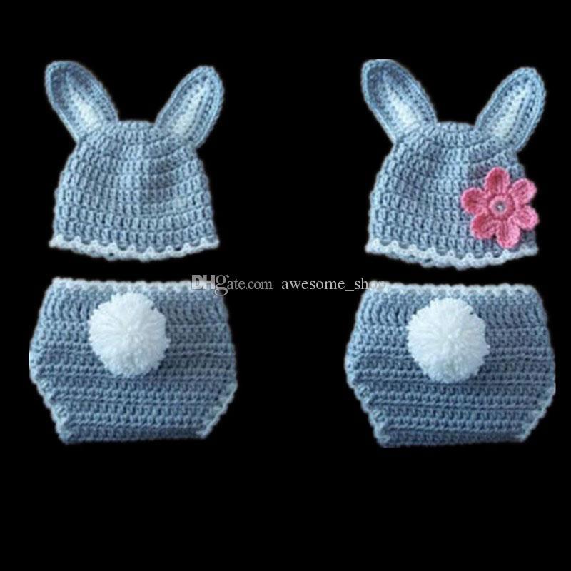 Großhandel Neugeborene Grau Weiße Osterhase Kostüm Handgemachte