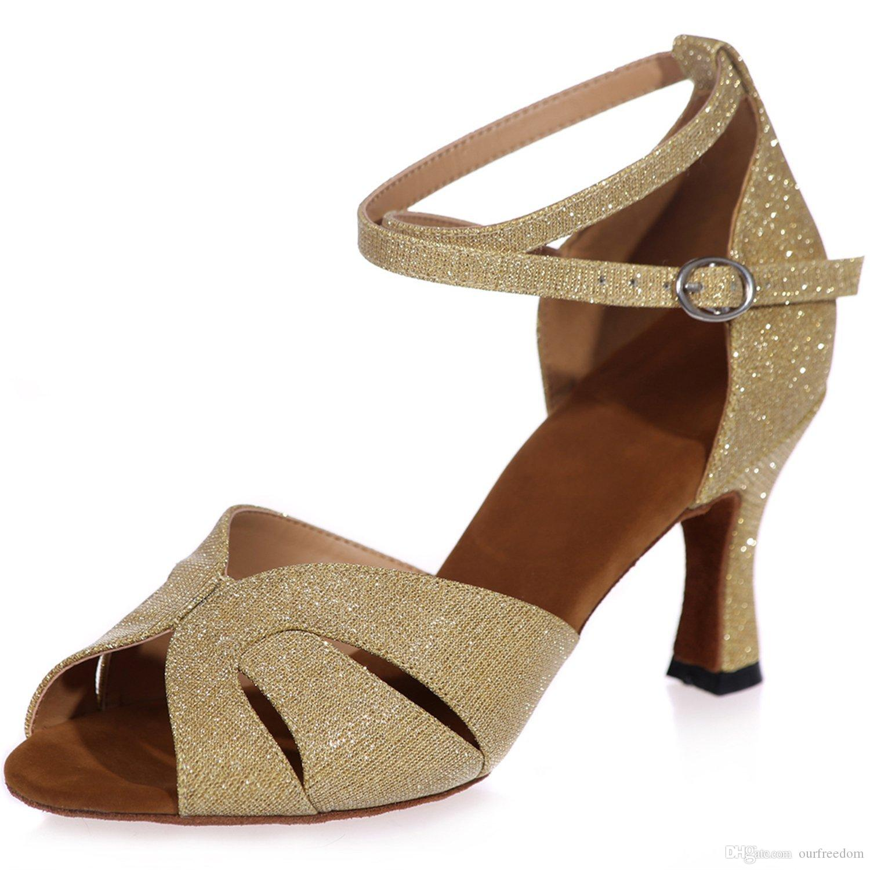 Nouveau chaussures de mariage pour la plage Clearbridal femmes chaussures de danse en cuir cheville strappy boucle salle de bal sandales de danse latine ZXF8349-05
