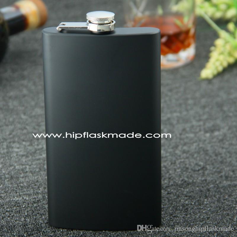 Flacon de hanche de 12 onces tout noir 100% en acier inoxydable noir mat sans couvercle en plastique