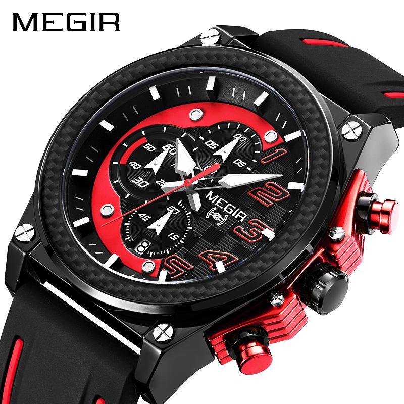 7f3af586c14 2016 Megir Mens Watches New Top Brand Luxury Leather Strap Sport Male Quartz  Watches Men Date Army Military Men Wristwatch 2051 Online Shopping For  Wrist ...