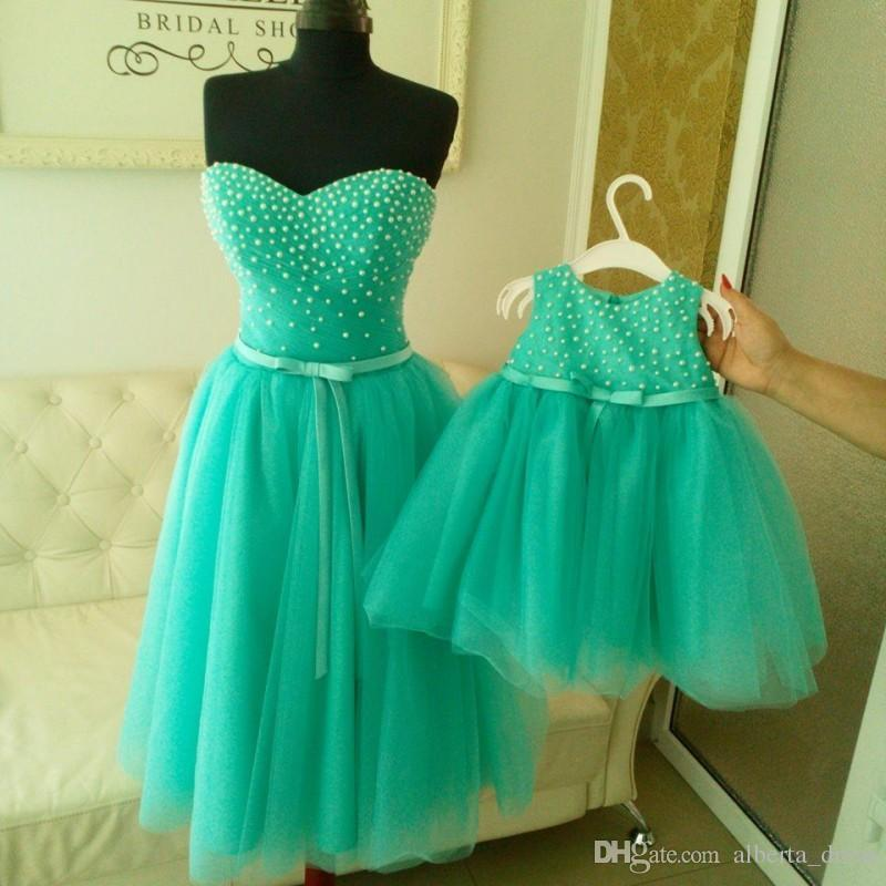 2016 Real Images Light Blue Mother and Daughter Matching Prom Dresses 2016 A Line Crew Plus Size Pearls Bow Sash Tea Length Formal Dresses