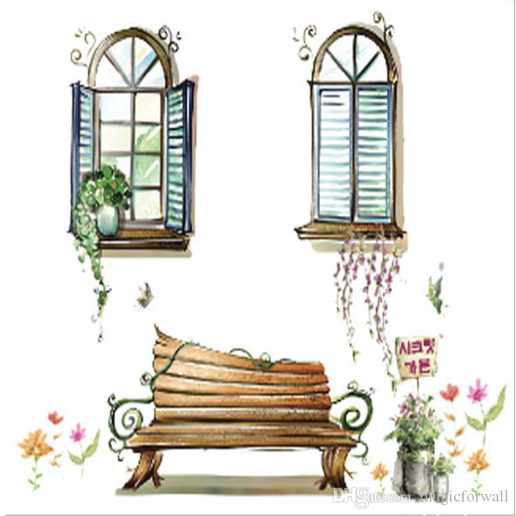 Two Fake Windows Potted Plants Bench Wall Stickers Home Decoration Wallpaper Art Mural Poster Living Room Office Bonsai Wall Applique Decor