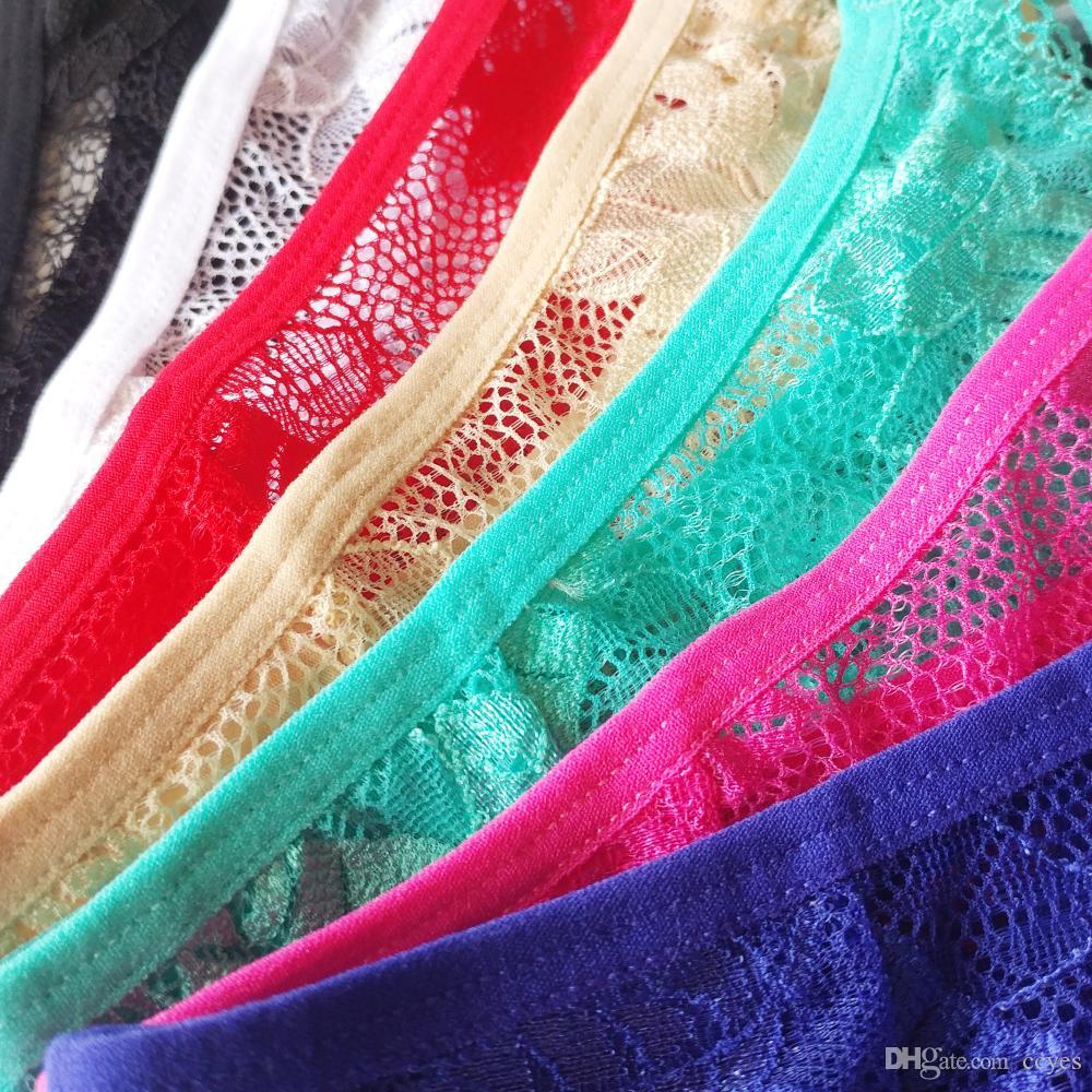 Chicas jóvenes encantadoras Tangas bragas Bikini de encaje de cintura baja arco tanga hueco Spaghetti ropa interior T bragas V chica íntima bragas 9616
