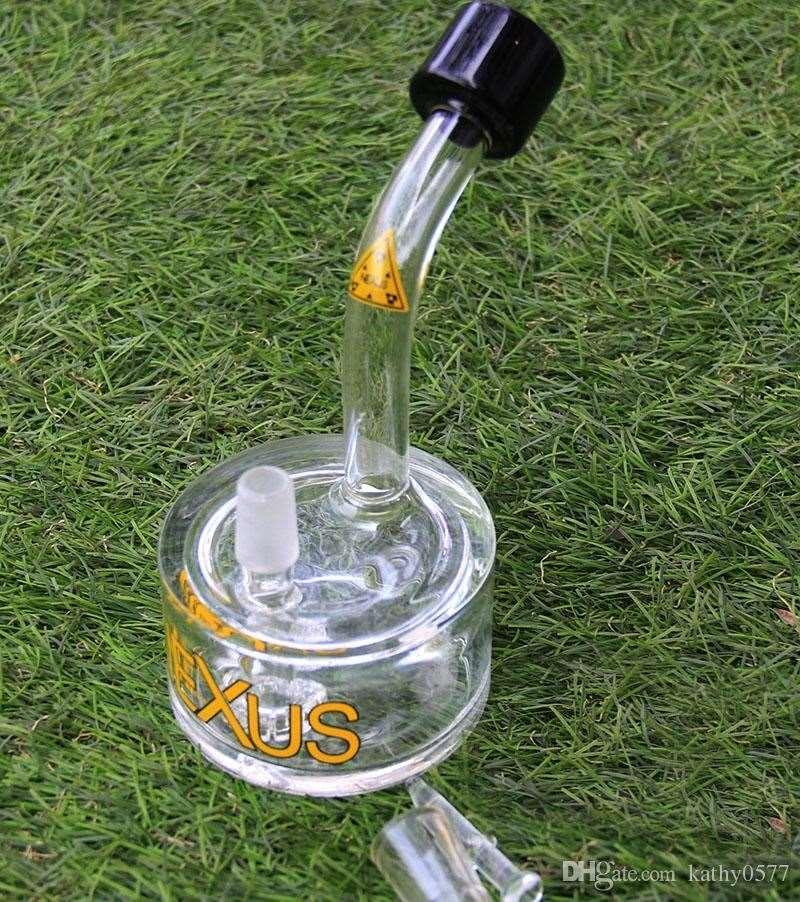 Bong! High quality NEXUS water pipes glass bongs bucket oil rigs dab rigs with black green accent and tyre perc 14.4mm male joint