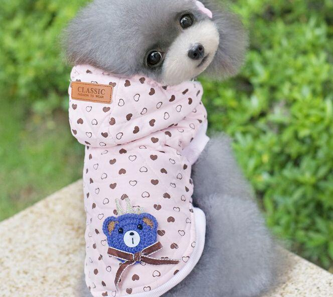 Cute Bear Fleece Cheap Dog Cat Sweater Pink Pet Hooded Jumpsuit With Heart Pattern Pet Coat For Winter Automn Min Order