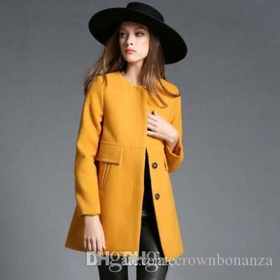 2018 New Fashion Winter Wool Coats Womens Elegant Yellow Long ...