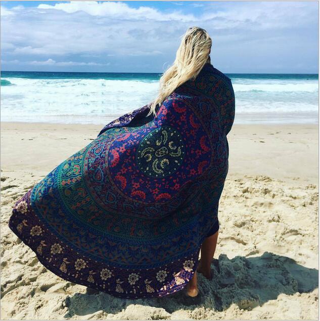 Yuvarlak Lotus Çiçek Şekli Mandala Goblen Duvar Asılı Çiçek Baskılı Plaj Yuvarlak Atmak Havlu Hippi Çingene Yoga Mat Battaniye 150 cm