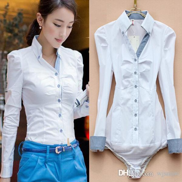 c58d6d983bb0 2019 Women Plaid V Neck Solid White Cotton Bodysuit Blouse OL Slim ...