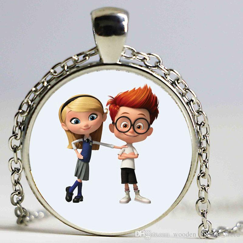New DreamWorks Silver Mr. Peabody & Sherman Bronze Pendant Crystal Chain Necklace for Kid Dress Up Figures Action