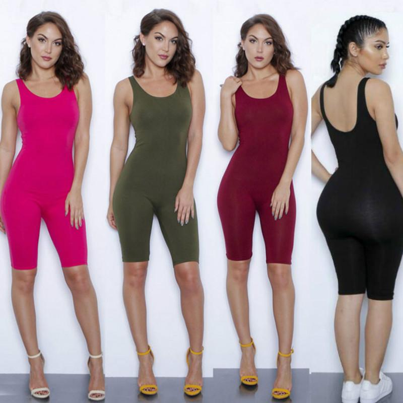 b9d8fba8ff 2019 One Piece Women Solid Bodycon Cotton Summer Solid Jumpsuit Hot Sport  Breath Rompers Strapless Short Sexy Women Jumpsuits Sleeveless Playsuit  From ...