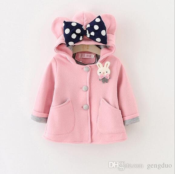 3733195b1165 Little Girls Coat Autumn Hooded Cotton Cartoon Bow Outwear Children ...