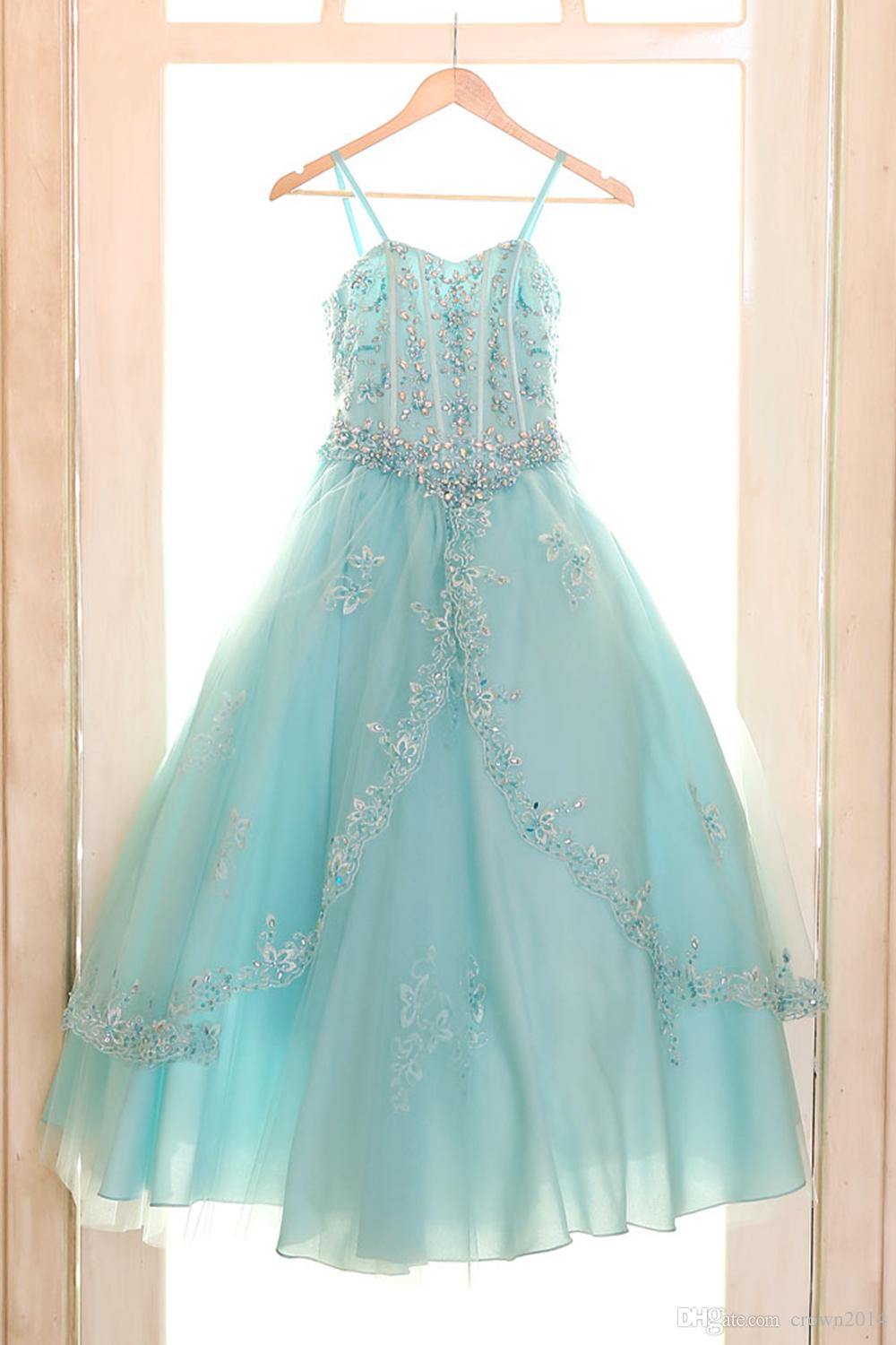 Coral Luxury Princess Ball Gown for Girls Pageant Dresses 2020 Sleeveless Flower Girl Dress With Jacket Beaded Little Girl Dress For Wedding