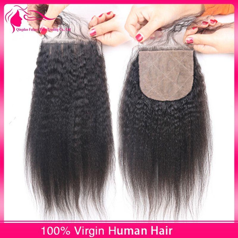 Neue Ankunft brasilianische verworrene gerade Haar mit Seide Basis Spitze Schließung / grobe Yaki Seide Basis Spitze Schließung mit Haar Bundles