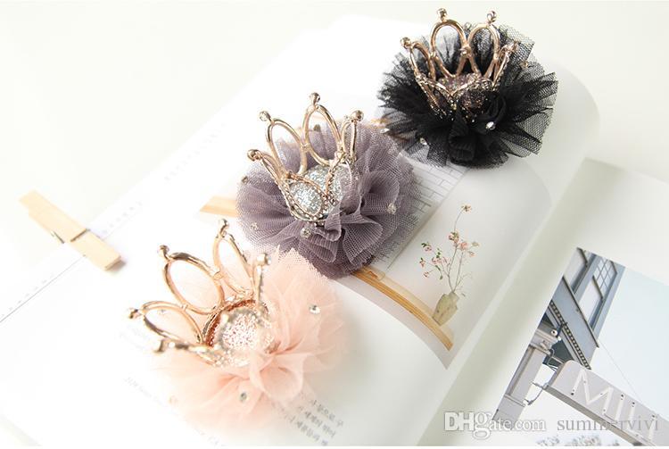 Hot sell Children's Hair Accessories girls lace gauze Rhinestone princess crown hairpin kids hair clips girls hair accessories A8402