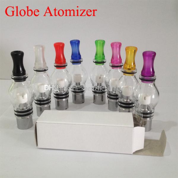 Glass Globe Atomizer Dry Herb Vaporizer coloful Clearomizer Wax tank for Electronic Cigarette E Cig tank huge vapor eGo glass bulb in stock