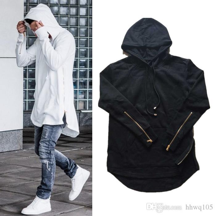 New Men s Zipper Hoodies Black White Gray Long Sleeve Pullover ... 2e956d7723c