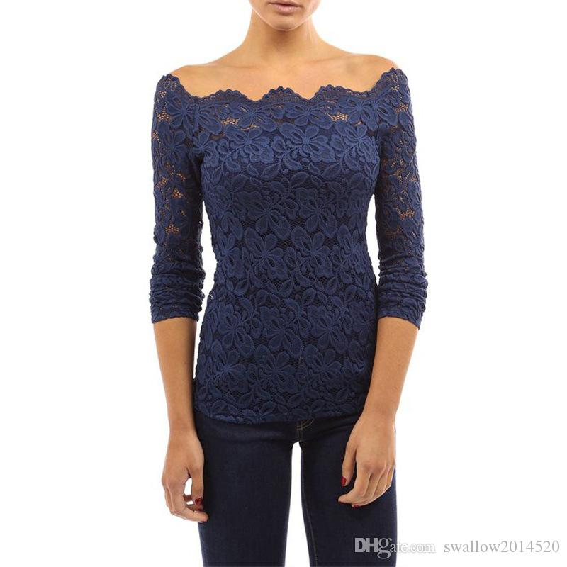 New Spring Summer Fashion Girl Women Lace Blouse Tops Slash Sexy Off The Shoulder Slim Base Shirt Floral Crochet Lace Blusas