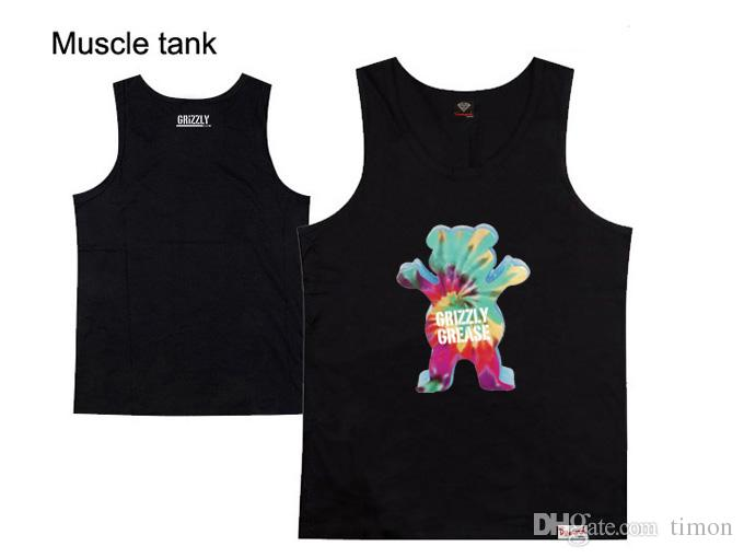 Wholesale Promotion Knitted Cotton O-neck Hot Sale Grizzly Grip X Diamond Supply muscle Tank Tops Men Casual Vest Brand Shirts