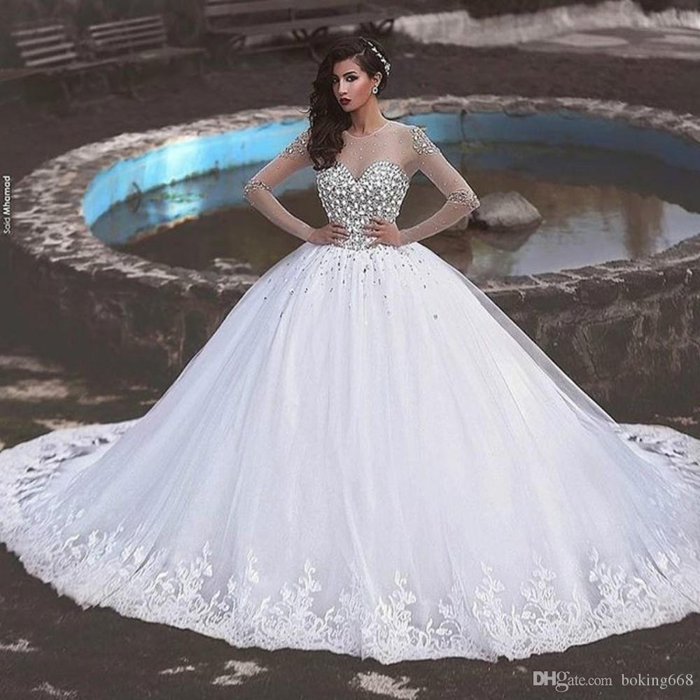 5d90ae5b15 2019 Gorgeous Dreaming lace appliques ball gown wedding dress beaded  sparkling crystal long sleeves bridal gown vestido de noiva