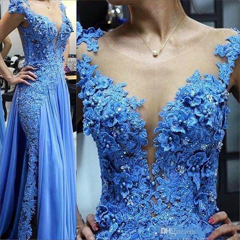 Falda azul apliques perlas del tamaño extra grande de las lentejuelas del vestido de noche del desgaste de la manga casquillo Jewel Sheer cuello de baile vestido de Zuhair Murad Lon vestidos de noche 474