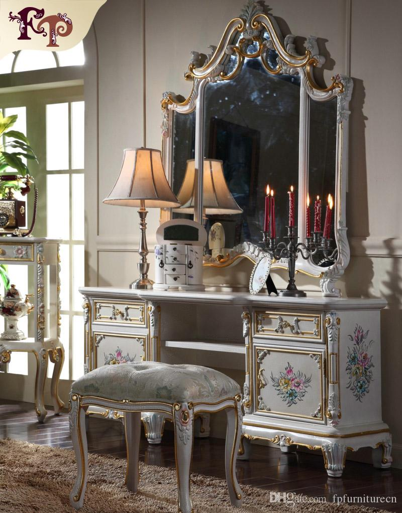 2019 european classic furniture luxury french royalty classic bedroom furniture set cracking paint dressing table and mirror from fpfurniturecn