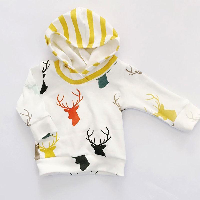 Newborn Baby Boy Girl suits thick hoodies+yellow striped pants Cute Deer Tops T shirt+Trousers Outift children boys girls Set Cotton Clothes