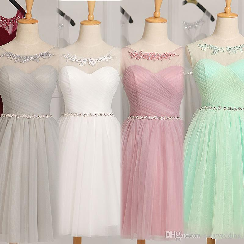 Scoop Neck Tulle Short Bridesmaid Dress Knee Length 2018 Mint Ball ...